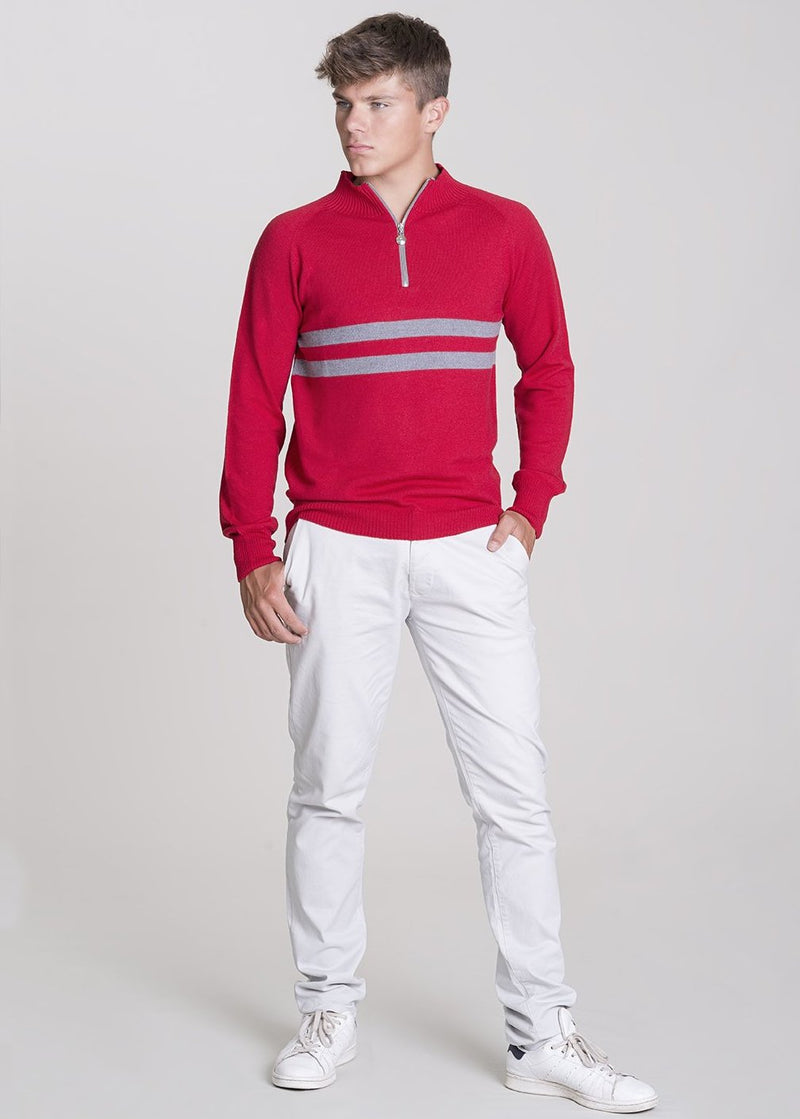 red mens merino zip jumper