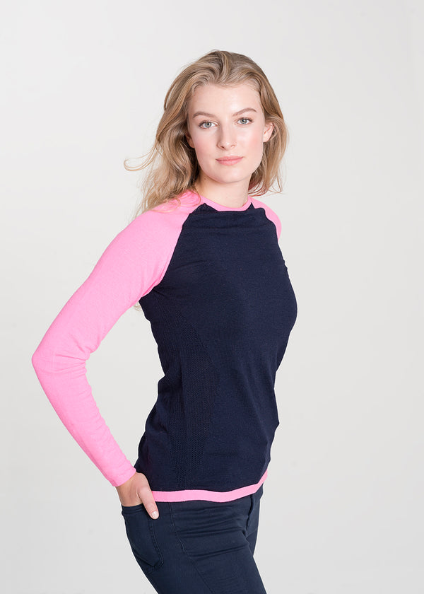 navy & pink merino ladies base layer