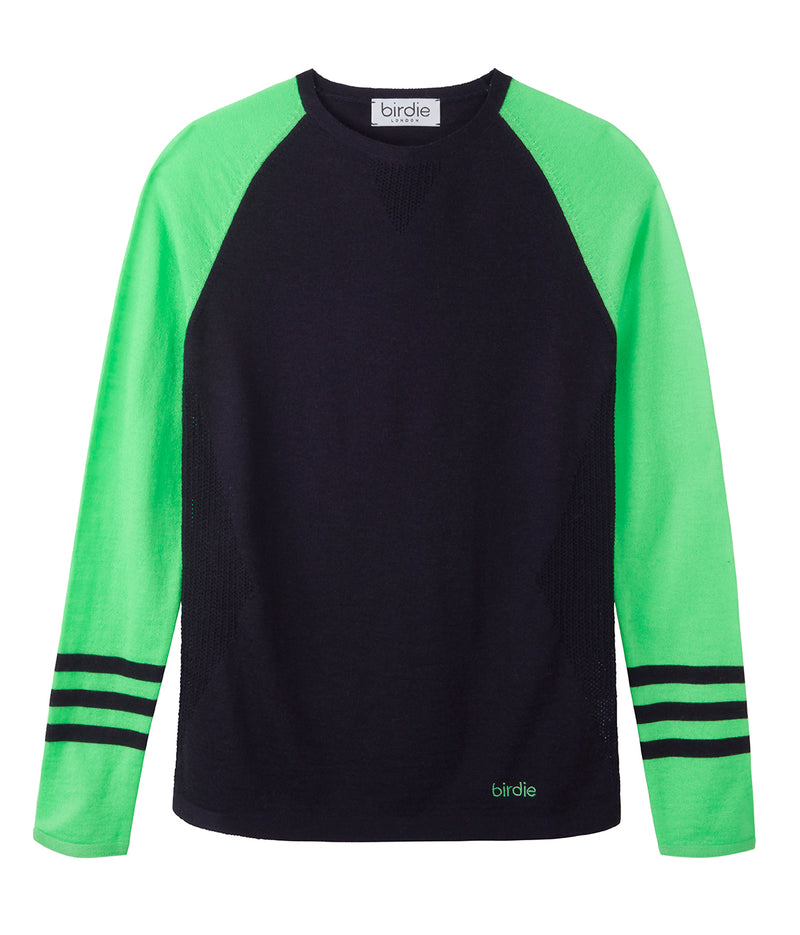 Under-Birdie base layer in navy & vibrant green