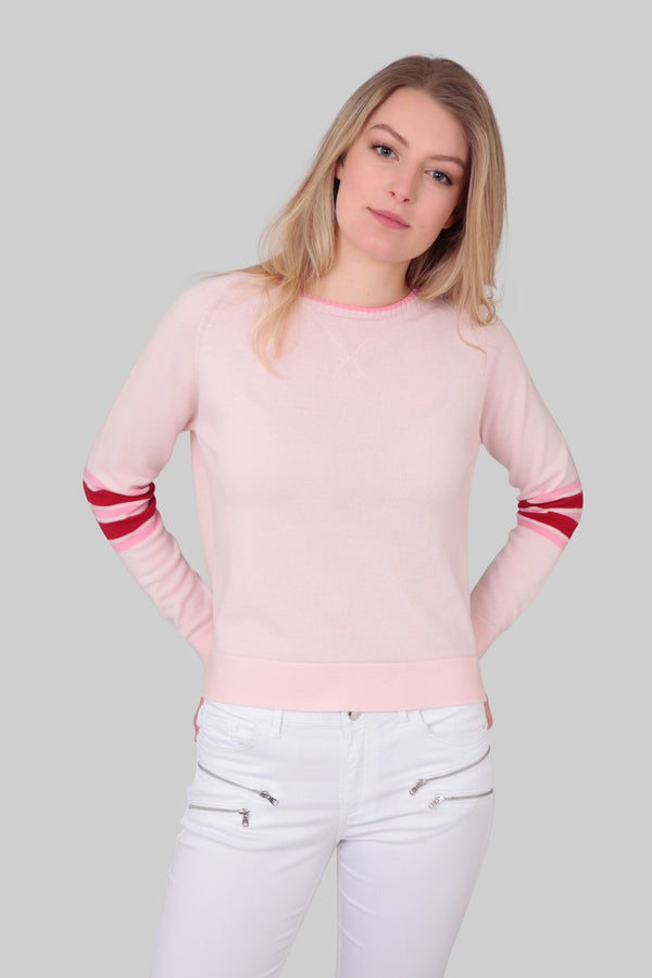 Ladies crew jumper in pretty pink