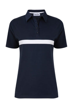 Ladies polo shirt navy & white