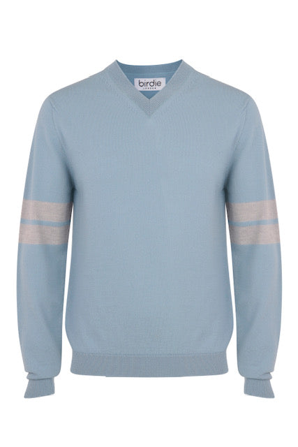 Mens V Jumper in dusky blue