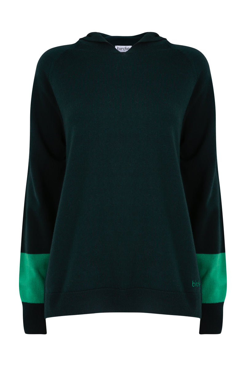 Ladies hoodie jumper in dark green