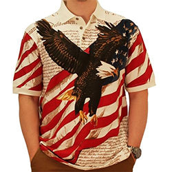 Eagle Flag with U.S Constitution Polo Shirt