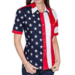 Ladies Short Sleeve USA Flag Shirt