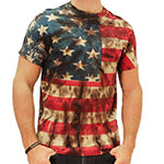 Mens Retro American Flag Tie Dye T Shirt