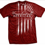 "This awesome super soft shirt has a faded battle weary American Flag running along its shoulder with the phrase ""Unapologetically American"" embossed over the image."