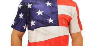 American flag shirt being worn