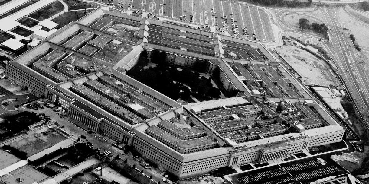 black and white photo of the pentagon