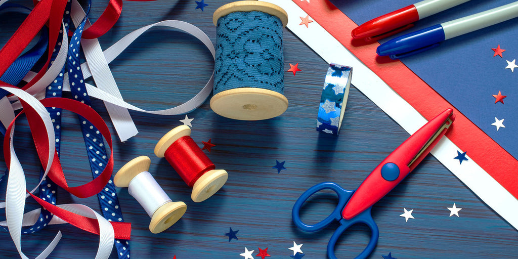 red, white, and blue arts and craft supplies