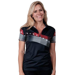 Ladies American Zip up Classic Polo - Navy