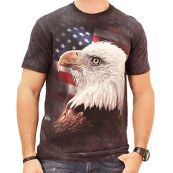 American Flag and Bald Eagle Mens T-Shirt - The Flag Shirt