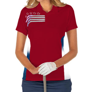 Akwa Womens Liberty Classic Polo Shirt - the flag shirt