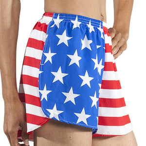Womens Patriotic Stretch split trainer running shorts - the flag shirt
