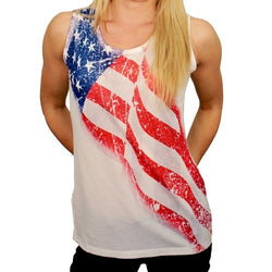 Scoop Neck White American Flag Tank Top w Sequins - The Flag Shirt
