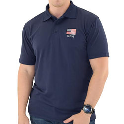 Mens Patriotic Classic Polo Shirt Navy - The Flag Shirt
