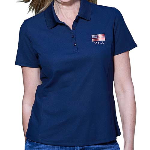 Ladies 3 Button Patriotic Polo Shirt Navy - The Flag Shirt