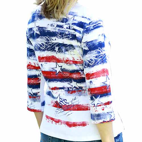 Womens Freedom Ring V-Neck Top - The Flag Shirt