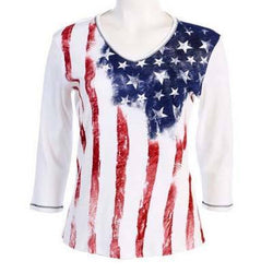 Old Glory Three Quarters Sleeve Top - Plus Size - The Flag Shirt