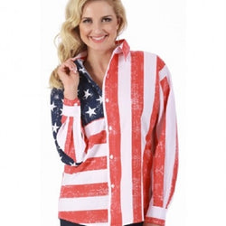 American Flag Long Sleeve Womens Button Down Shirt - The Flag Shirt
