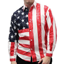 American Flag Long Sleeve Mens Button Down Shirt - The Flag Shirt