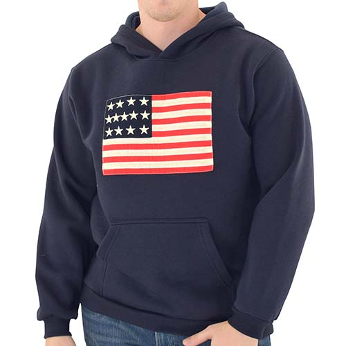 Mens USA Flag Pullover Fleece Navy - The Flag Shirt