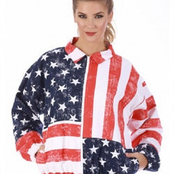 Womens American Flag Jacket with Zip Front - The Flag Shirt