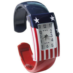 American Flag Bangle Watch - square