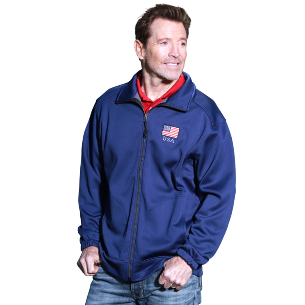 Mens Patriotic Full Zip Jacket Navy - The Flag Shirt
