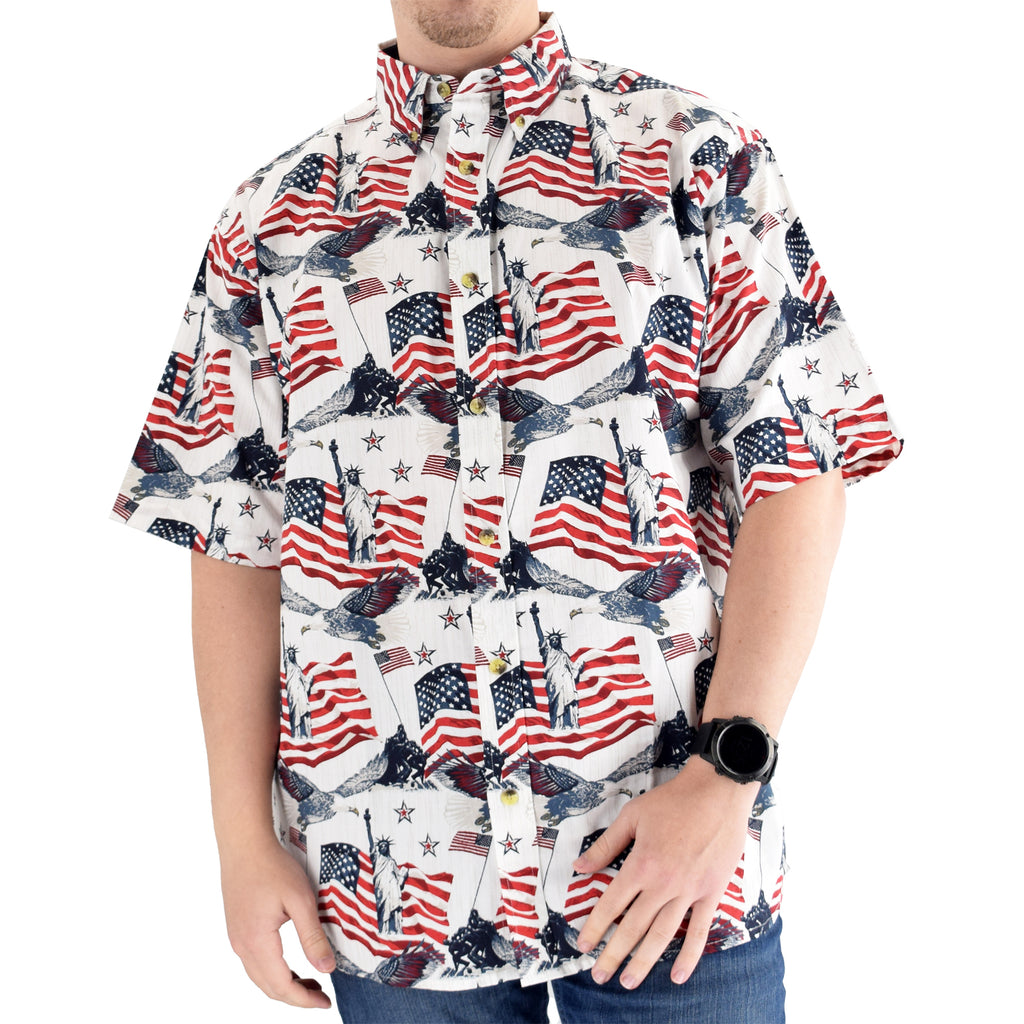 Men's Woven Button-Up Flags & Statue Shirt - theflagshirt