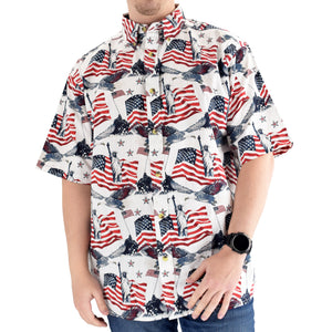 Men's Woven Button-Up Flags & Statue Shirt - the flag shirts