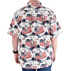 Men's Woven Button-Up Flags & Statue Shirt
