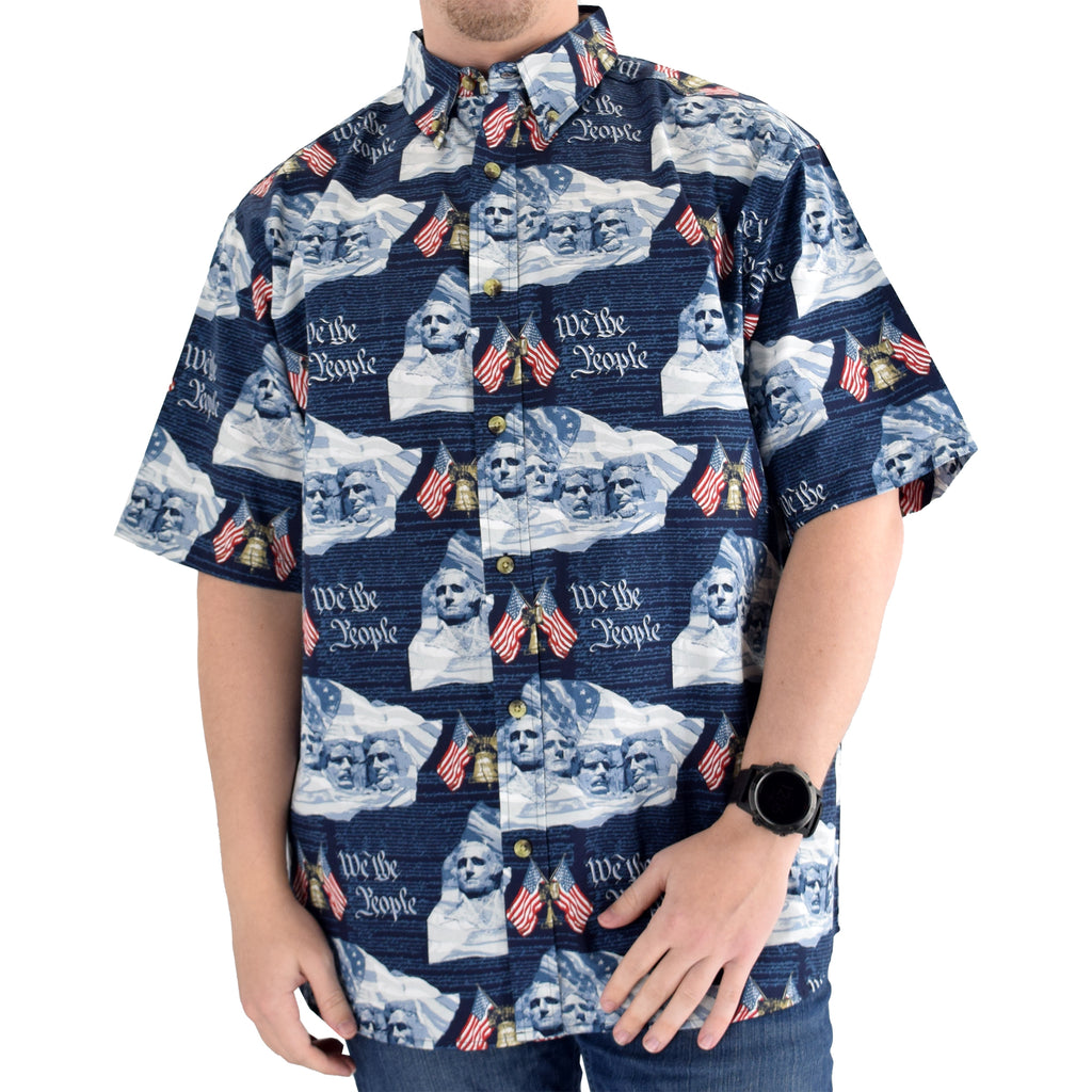 Men's Woven Button-Up Bell & Rushmore Shirt - theflagshirt