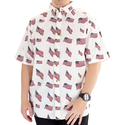 Mens Woven Button Down Allover Flags Shirt