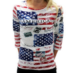 American Flags Ladies 3/4 Sleeve Shirt