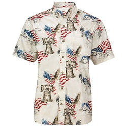 Mens American to the Bone Woven Button Down Shirt - The Flag Shirt