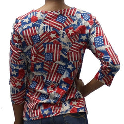 Ladies Abstract American Flag with Sequins Shirt - The Flag Shirt