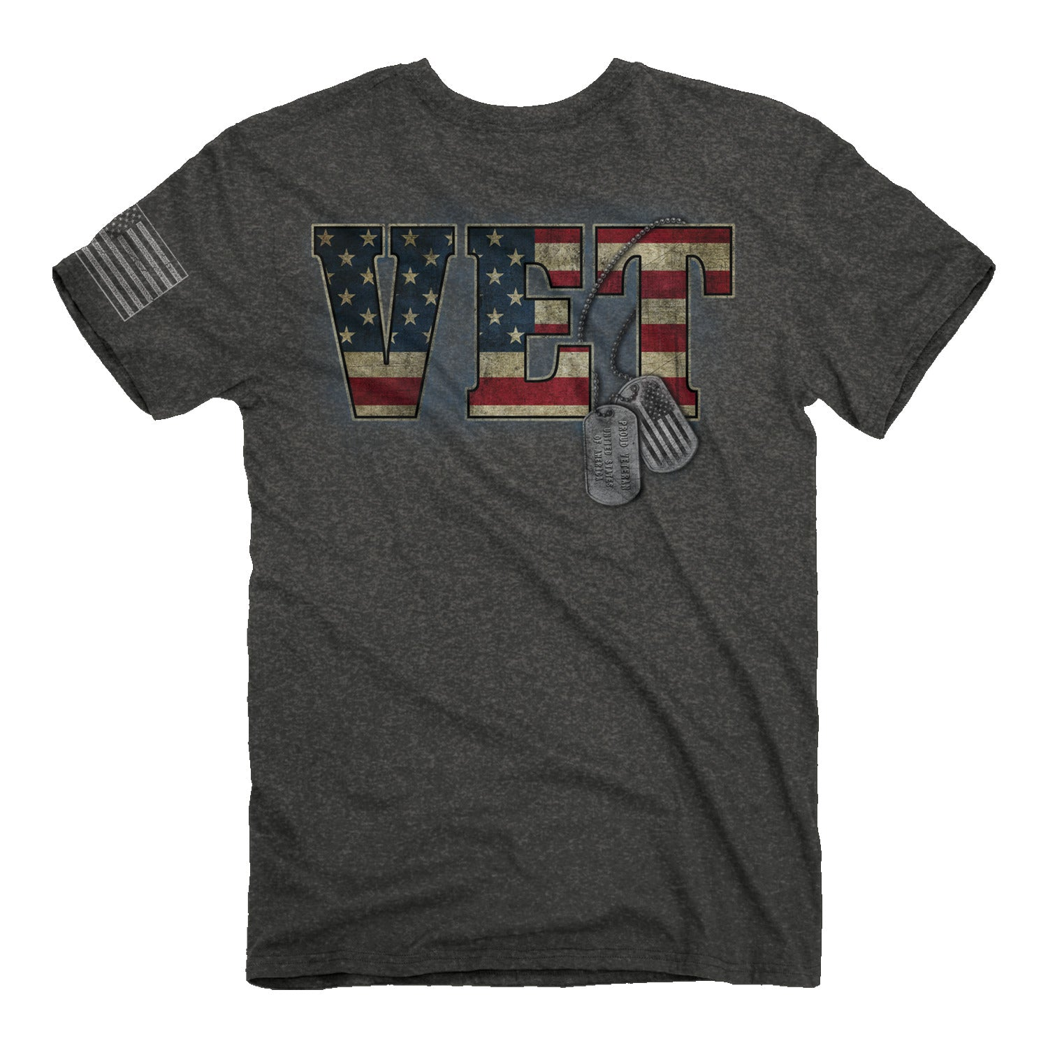 "Buck Wear Men's ""Vet"" Tag USA Flag Graphic Tee in Dark Heather Color"