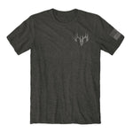 "Load image into Gallery viewer, Buck Wear Men's ""Vet"" Tag USA Flag Graphic Tee in Dark Heather Color - The Flag Shirt"