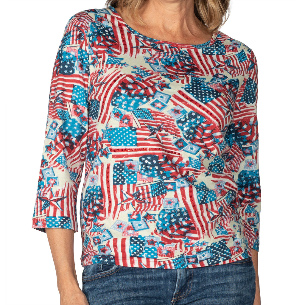 Women's USA Flag Mosaic 100% Cotton 3/4 Sleeve Shirt - the flag shirt