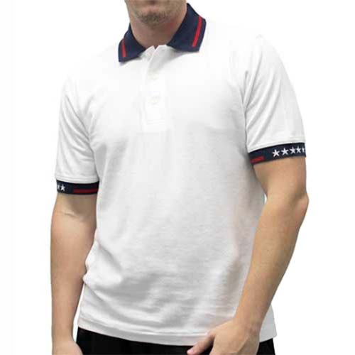 Mens Patriotic Tactical Polo Shirt - White