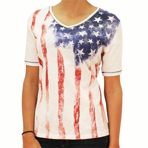 Old Glory V-neck Ladies Tie Dye Top - theflagshirt