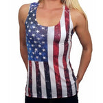 Load image into Gallery viewer, Juniors Laced Back American Flag Tank Top - The Flag Shirt