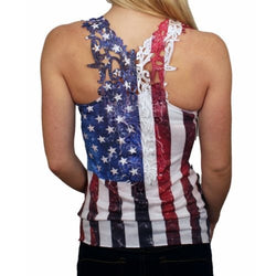 Juniors Laced Back American Flag Tank Top - The Flag Shirt
