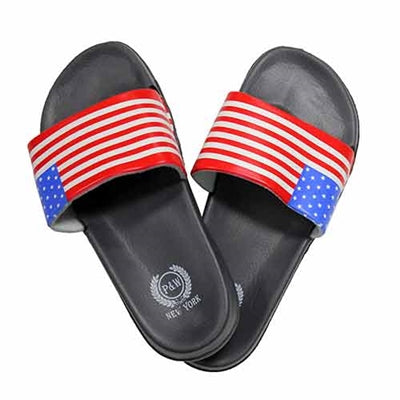 USA Flag Flip Flops Sandals - Black - The Flag Shirt