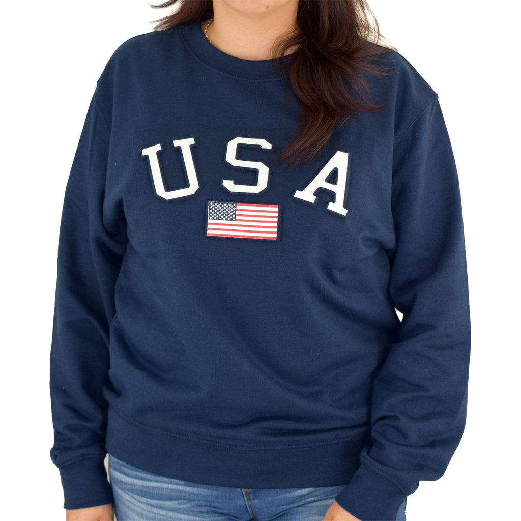 Womens USA crewneck fleece sweatshirt - the flag shirt