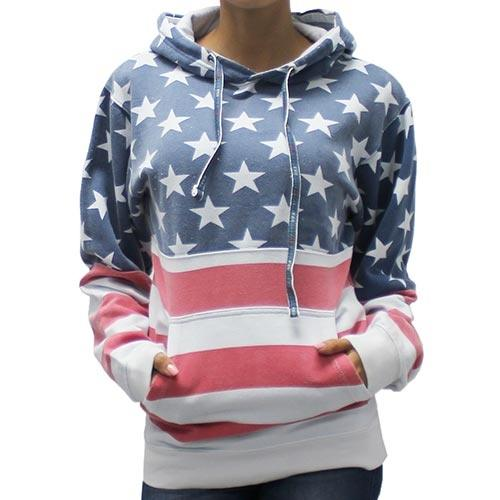 Womens  Patriotic Stars Hoodie Sweater - The Flag Shirt