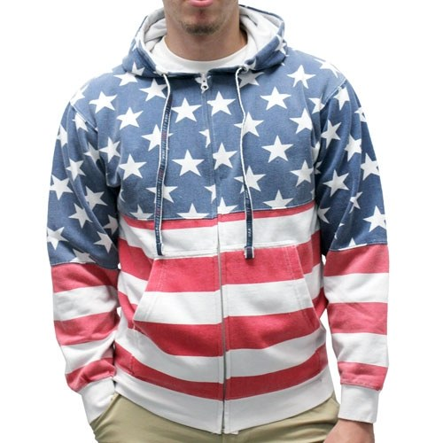 Mens Patriotic Stars Hoodie- Full Zip - The Flag Shirt