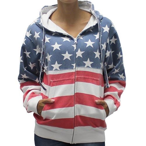 Womens Patriotic Stars Hoodie- Full Zip - The Flag Shirt