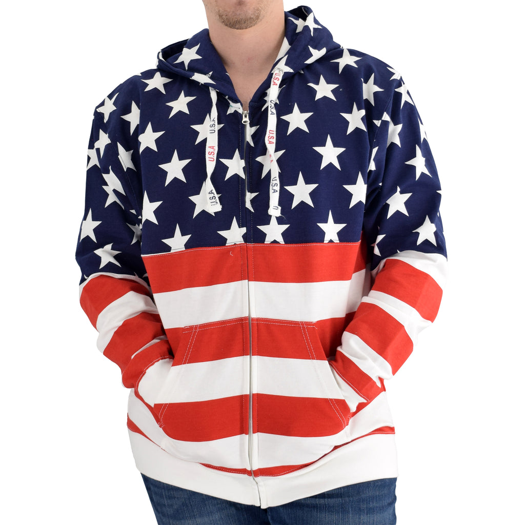 mens patriotic stars hoodie navy with full zip - the flag shirt